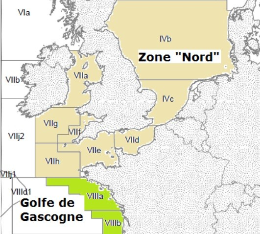 Zonage des zone de pêche en europe