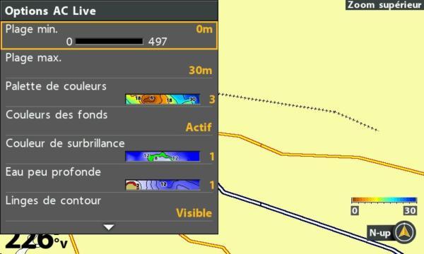 De nombreux paramètres pour la fonction autochart live d'humminbird