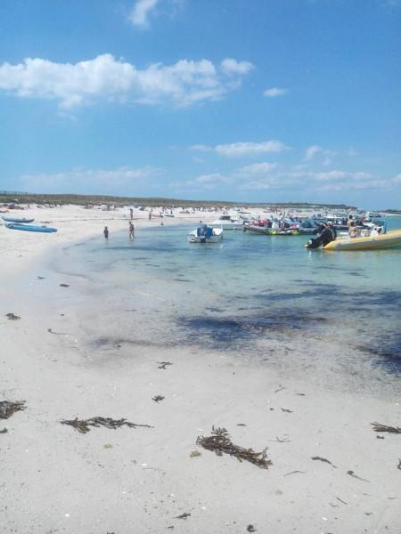 Iles des glenan avec beaucoup de monde sur la plage