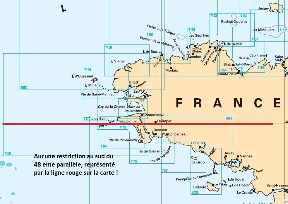 carte maritime pour la reglemenation du labrax