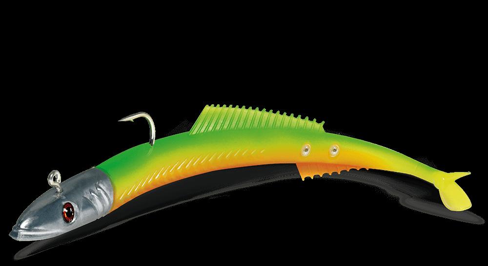 Un leurre souple en forme de lançon qui devrait bien marcher en mer, le delalande fire eel